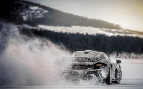 Картинка снег, скорость, лёд, занос, гиперкар, Mclaren P1