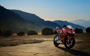 Картинка закат, горы, красный, мотоцикл, red, honda, bike, хонда, cbr600rr, supersport
