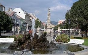 Обои парк, дома, фонтан, Словакия, чумная колонна, Кошице