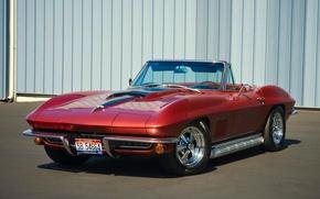 Картинка красный, кабриолет, классика, chevrolet corvette