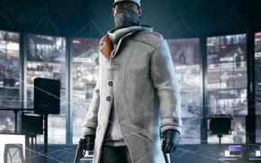 Картинка Aiden Pierce, взгляд, PS4, Эйден Пирс, свитер, кепка, повязка, перчатки, оружие, Ubisoft Montreal, плащ, мобильный, …