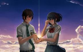 Картинка девушка, аниме, арт, парень, Kimi no Na wa, Your Name, Твоё имя