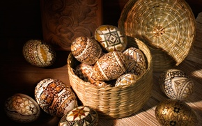 Картинка писанки, праздник, корзинка, короб, Пасха, яйца, доски, Easter