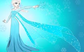 Обои снежинки, фон, платье, Frozen, Холодное сердце, Queen Elsa