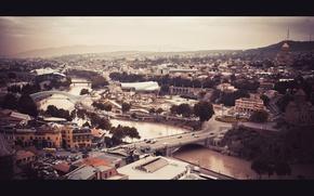Картинка небо, вода, горы, природа, город, река, дома, тбилиси
