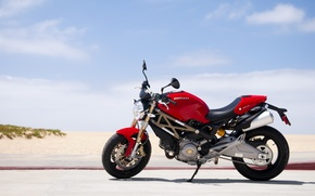 Картинка red, Ducati, Monster, beach, road, sky, 696