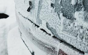 Картинка зима, иней, машина