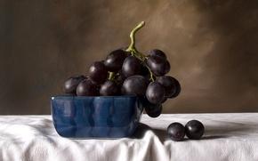 Картинка черный, виноград, фрукты, натюрморт