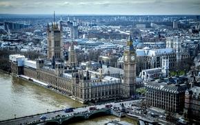 Картинка мост, река, Англия, Лондон, башня, дома, панорама, Темза, парламент