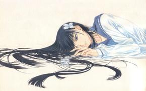 Обои лежит, флакон, школьница, длинные волосы, Sankarea, матроска, Sanka Rea