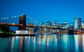 Обои Manhattan, мост, New York City, дома, East river, World Trade Center, cityscape, Manhattan Bridge, огни, ...