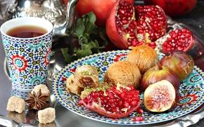 Картинка чай, сахар, гранат, специи, инжир