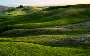 Картинка дом, холмы, утро, Италия, Тоскана