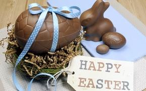 Картинка яйца, Пасха, chocolate, spring, Easter, eggs, decoration, Happy