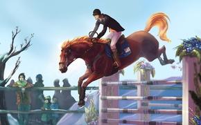 Картинка Лошадь, Спорт, Прыжок, Живопись, Рисованные