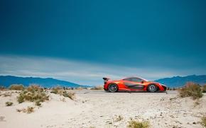 Картинка McLaren, Orange, Side, Death, Sand, Supercar, Valley, Hypercar, Exotic, Volcano
