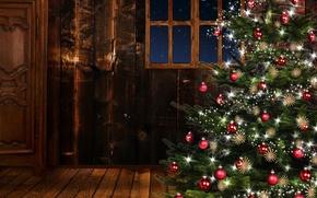 Картинка комната, елка, рождество, окно, Новый год