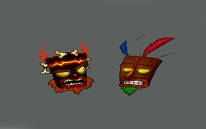 Картинка playstation, bandicoot, aku aku, crash bandicoot