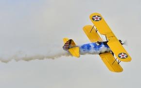 Картинка ретро, самолет, дым, пилот, парад, биплан