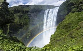 Картинка скалы, радуга, Исландия, Iceland, Skogafoss, водопад Скоугафосс