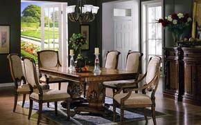 Картинка цветы, стол, стулья, интерьер, букет, сад, кресла, балкон