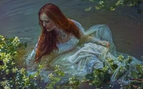 Картинка девушка, фантазия, арт, в воде, Agnieszka Lorek, Save me, Oliwia Styczyńska