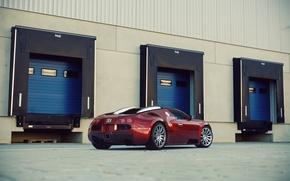 Картинка Бугатти, Bugatti, Вейрон, Veyron, Red, Supercar, 16.4, Rear