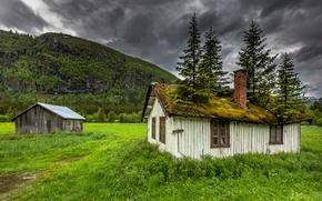 Обои hemsedal, norvège, norway, house, дом, крыша, мох
