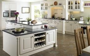 Обои белый, дизайн, стиль, стол, комната, интерьер, кухня, квартира