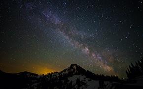 Картинка космос, звезды, пейзаж, горы, ночь, пространство, млечный путь