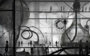 Картинка люди, фантастика, арт, portal, people, portal 2, aperture science