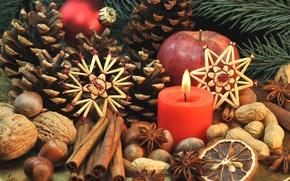 Обои сладости, Xmas, Новый Год, Merry, печенье, Рождество, nuts, орехи, Christmas, фрукты, decoration, корица