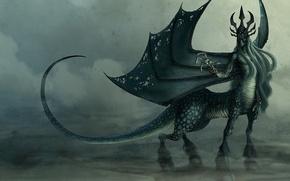 Картинка крылья, монстр, хвост