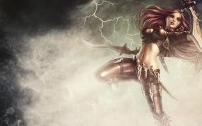 Обои девушка, прыжок, молния, арт, мечи, Katarina, League Of Legends