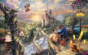Картинка деревья, любовь, закат, цветы, мост, замок, часы, водопад, радуга, свечи, арт, пара, фонарь, rainbow, балкон, ...