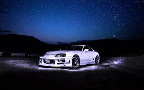 Картинка Toyota, Sky, Stars, White, Supra, Tuning, TRD, Nigth