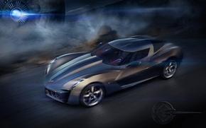 Обои скорость, концепт, Chevrolet Corvette Stingray
