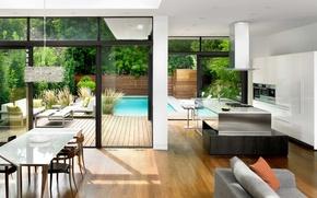 Картинка дом, стиль, стол, диван, мебель, техника, бассейн, кресла, кухня, house, pool, modern, interior, модерн, деревья.