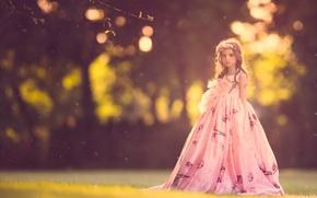 Картинка природа, платье, девочка, боке