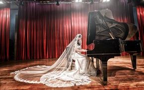 Картинка девушка, музыка, рояль, азиатка