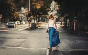 Картинка утро, девушка, город, улица