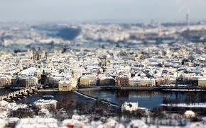 Обои снег, город, tilt-shift, прага, зима