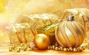 Картинка украшения, праздник, подарок, блеск, новый год, лента, елочные шары