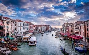 Картинка закат, лодки, Италия, Венеция, канал, sunset, гондола, boats, Italia, Venecia, canal, gondola