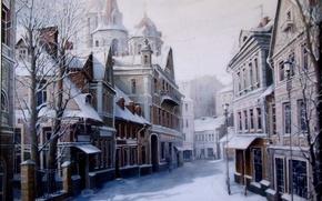 Картинка зима, дорога, снег, деревья, город, дома, Картина, фонарь, Живопись, Александр Стародубов