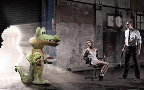 Обои крокодил, печенье, склад, бандиты