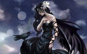 Обои фентези, фея, ворон, девушка