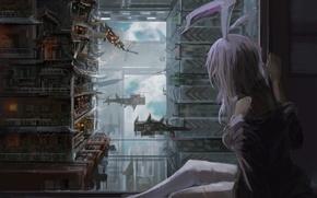 Картинка небо, девушка, облака, город, дома, корабли, арт, сидит, ушки, touhou, reisen udongein inaba, du xiedai …
