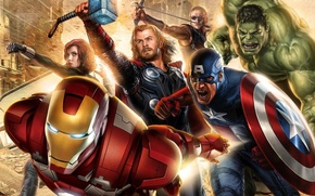 Обои Железный человек, капитан америка, Avengers, черная вдова, Халк, Мстители, фильм, рисунок, Iron man, соколиный глаз, ...