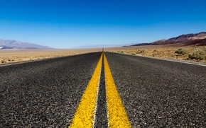 Картинка дорога, небо, природа, разметка, пустыня, road, sky, nature, 2560x1600, dessert, marking